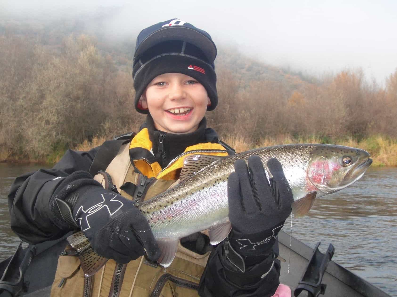 Rogue river steelhead caught fishing the upper Rogue in fall.