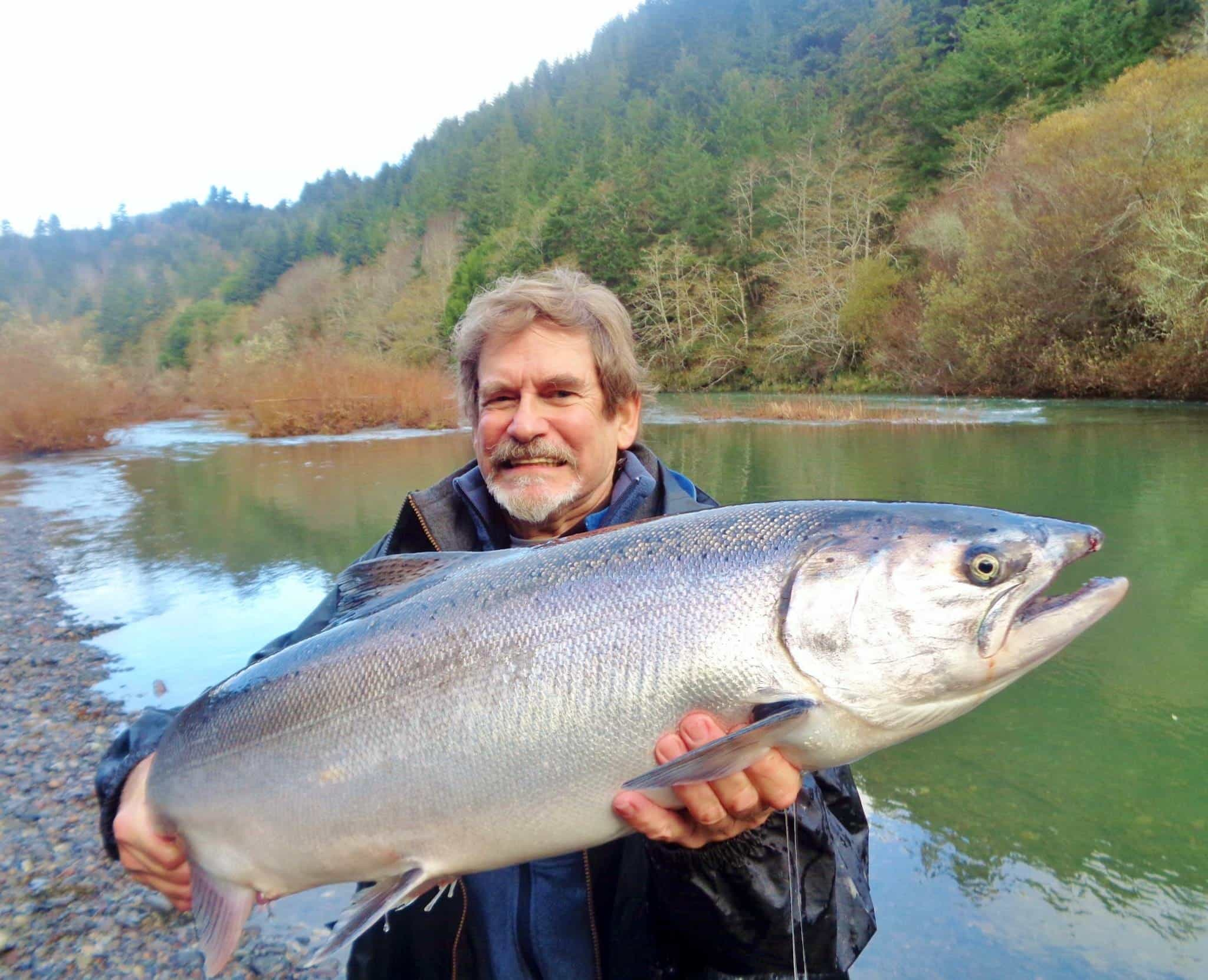 Chinook king salmon fishing on the southern Oregon coast, Elk river.